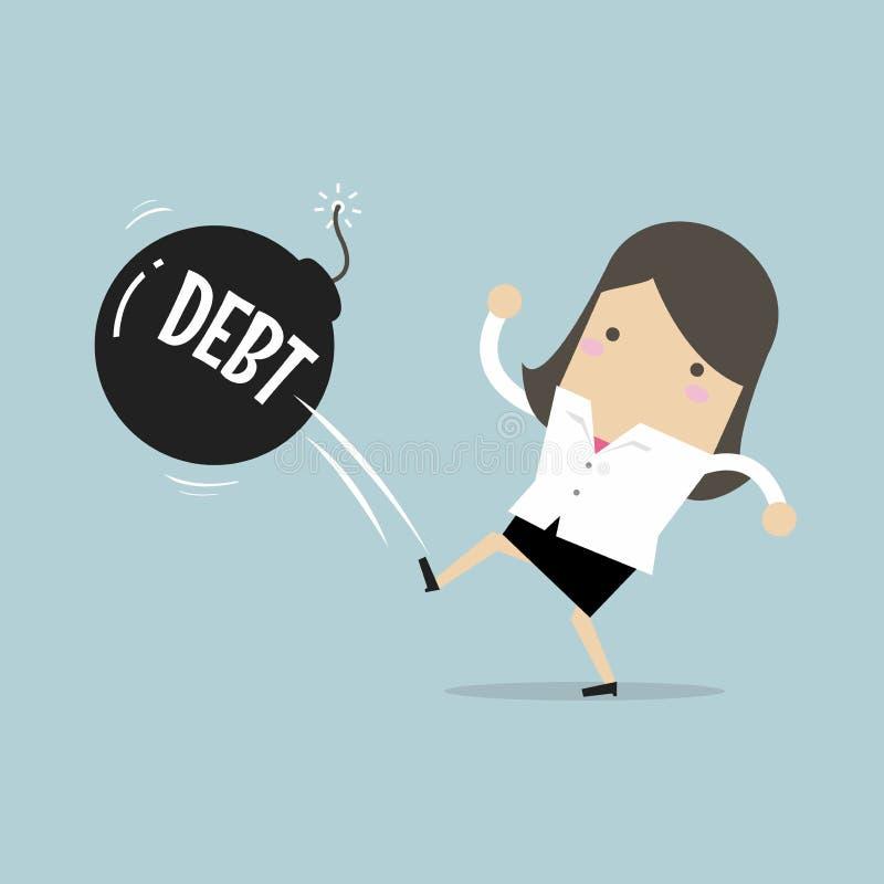 A mulher de negócios que retrocede a bola da bomba do débito afastado gosta como a bola de futebol, negócio do imposto do sucesso ilustração do vetor