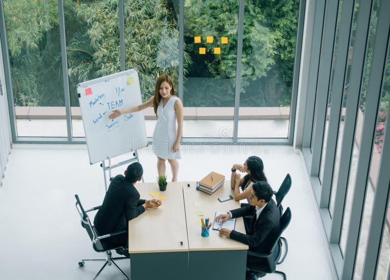 Mulher de negócios que tem a reunião de negócios com seu pessoal mostrando a apresentação na carta de aleta fotos de stock royalty free