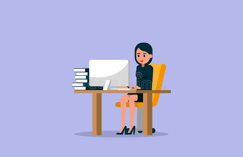 Mulher de negócios que trabalha no computador Ilustração do vetor do workin ilustração stock
