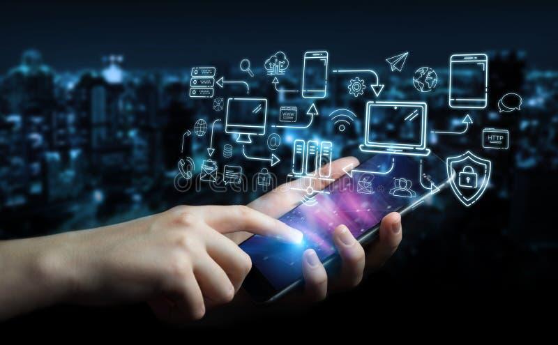 Mulher de negócios que usa a linha relação dos dispositivos e dos ícones da tecnologia finamente ilustração do vetor