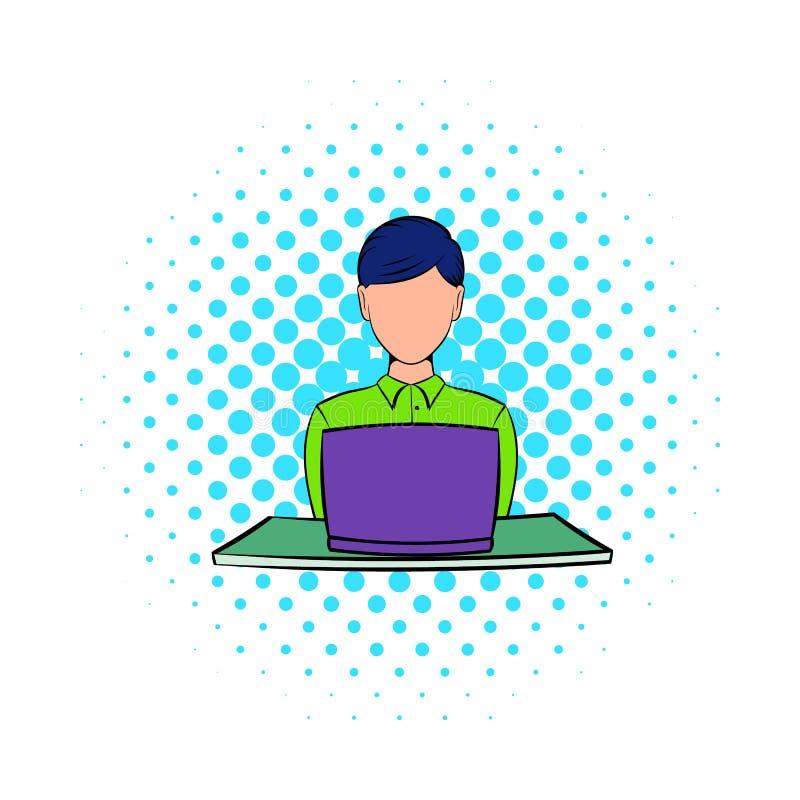 Mulher de negócios que usa o ícone do portátil, estilo da banda desenhada ilustração do vetor