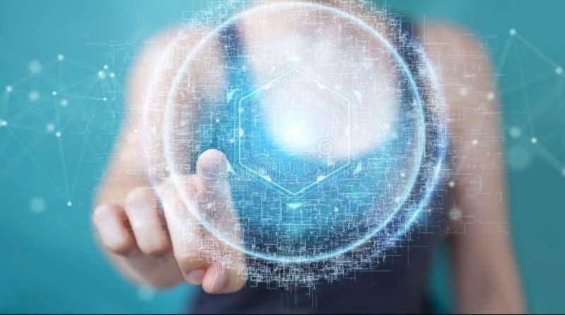 A mulher de negócios que usa o holograma digital 3D da conexão da esfera rende ilustração do vetor