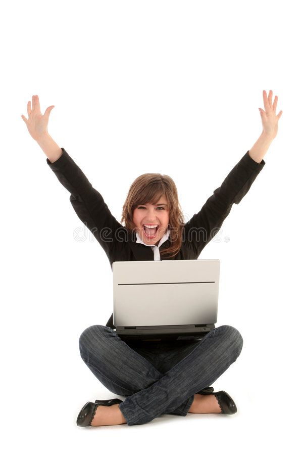 Mulher de negócios que usa o portátil imagem de stock