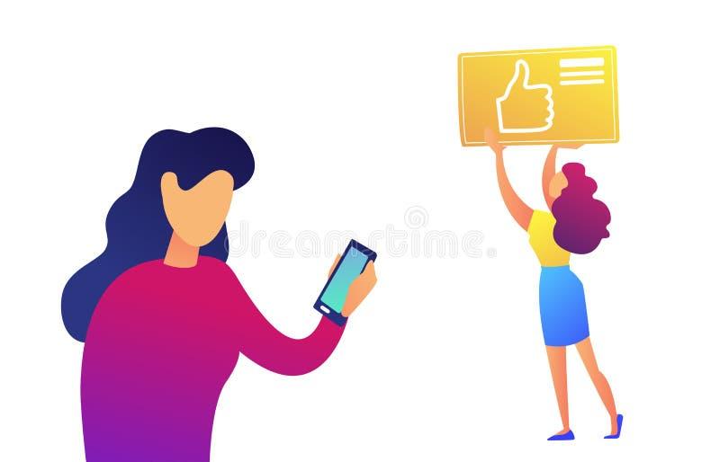 Mulher de negócios que usa o smartphone e o polegar acima da ilustração do vetor do ícone ilustração royalty free