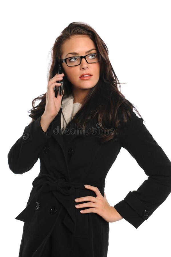Mulher de negócios que usa o telemóvel fotografia de stock royalty free
