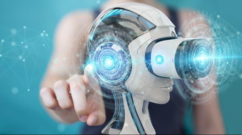 Mulher de negócios que usa a realidade virtual e a inteligência artificial ilustração stock