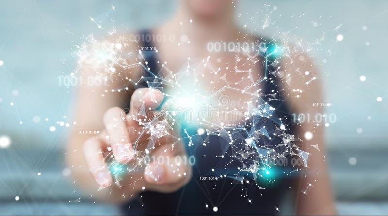Mulher de negócios que usa a rede digital 3D da conexão do código binário com referência a ilustração royalty free