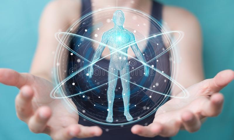 Mulher de negócios que usa a relação digital 3D r da varredura do corpo humano do raio X ilustração do vetor