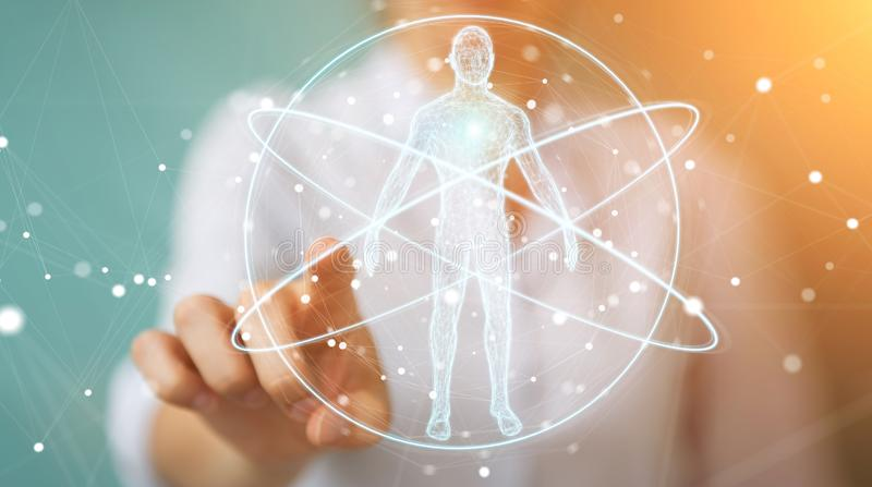 Mulher de negócios que usa a relação digital 3D r da varredura do corpo humano do raio X ilustração royalty free