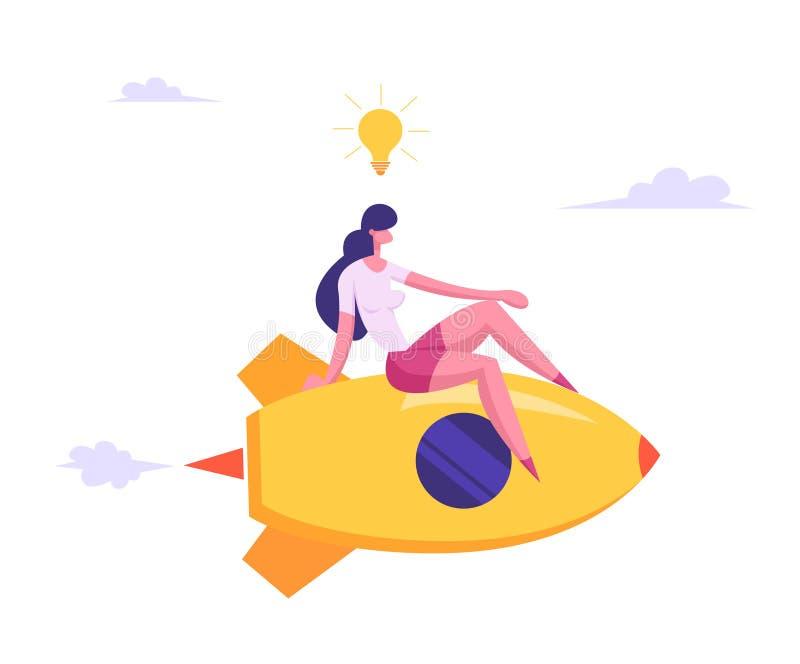 Mulher de negócios relaxado com voo aéreo da ampola em Rocket Engine com os pés cruzados que competem ao sucesso ilustração stock