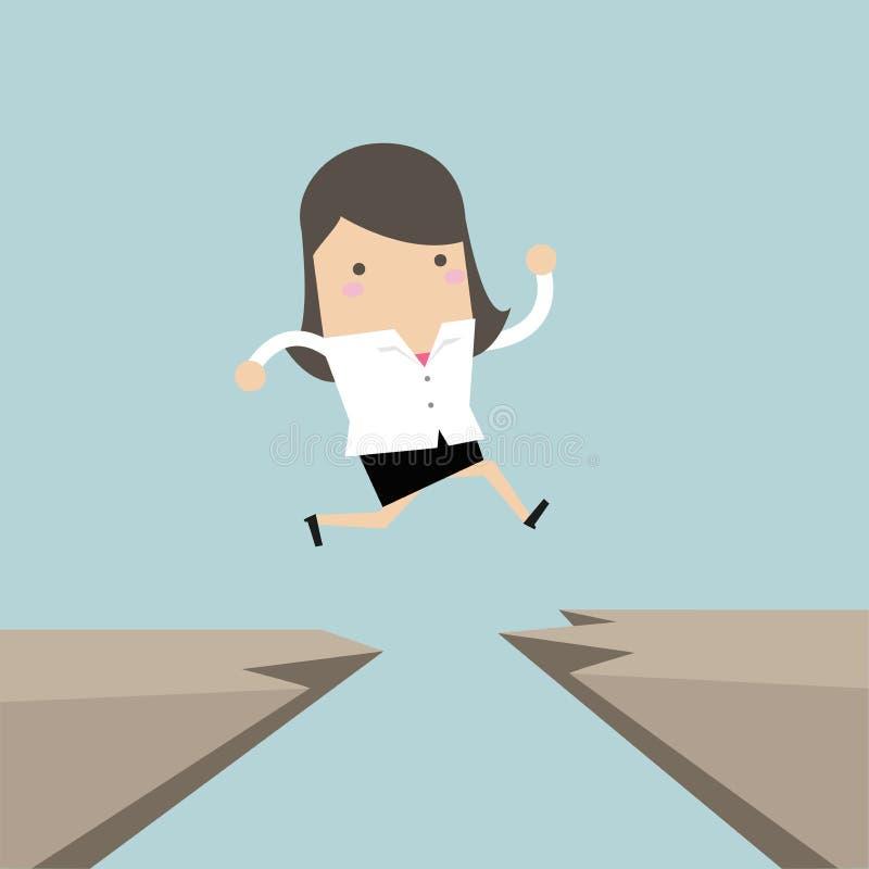 A mulher de negócios salta com a diferença de um penhasco a outro ilustração stock