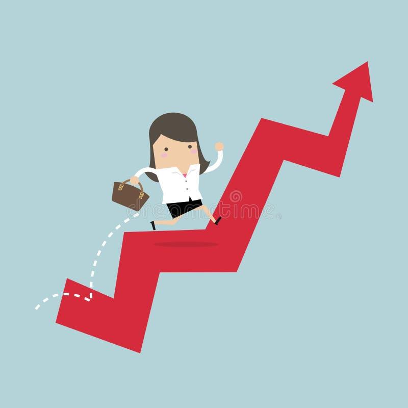 A mulher de negócios salta sobre a carta crescente ilustração do vetor