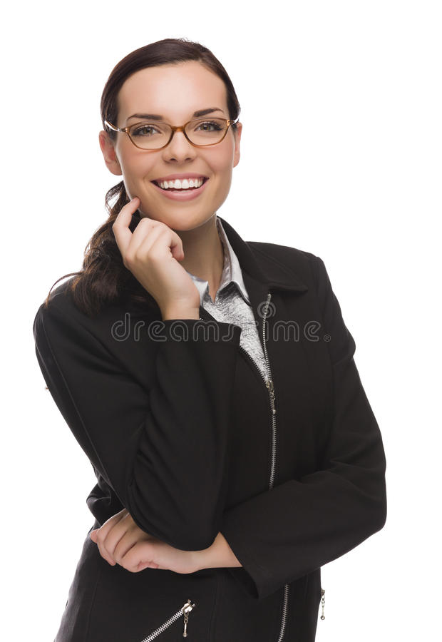 Mulher de negócios segura Isolated da raça misturada no branco imagens de stock