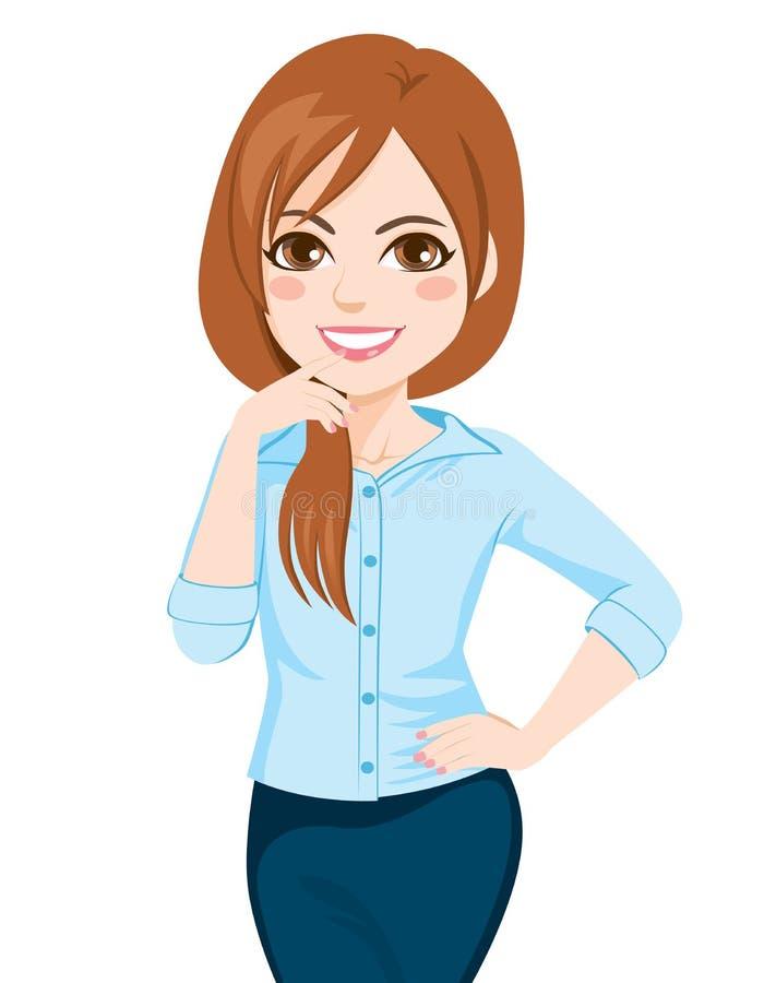Mulher de negócios segura nova Posing ilustração stock