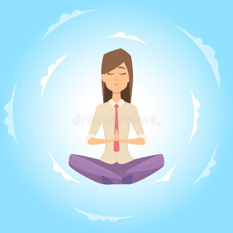 Mulher de negócios segura o equilíbrio com meditação Conceito de relaxamento do vetor ilustração royalty free