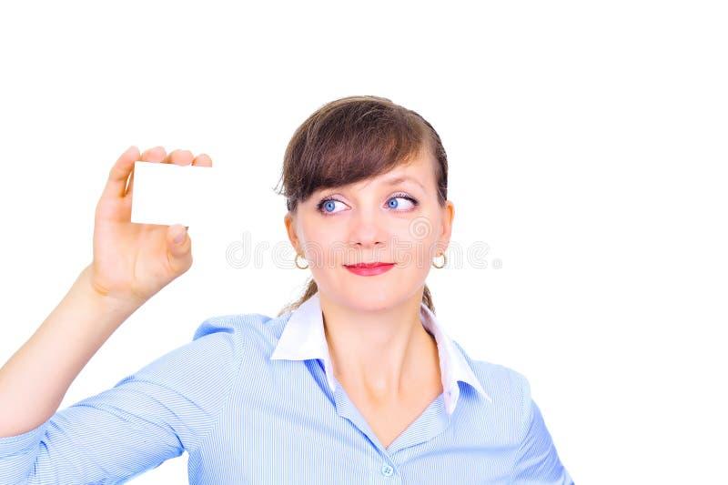 Mulher de negócios 'sexy' com cartão imagem de stock royalty free