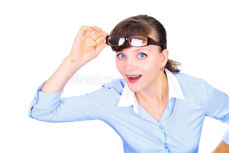 Mulher de negócios 'sexy' com vidros fotos de stock