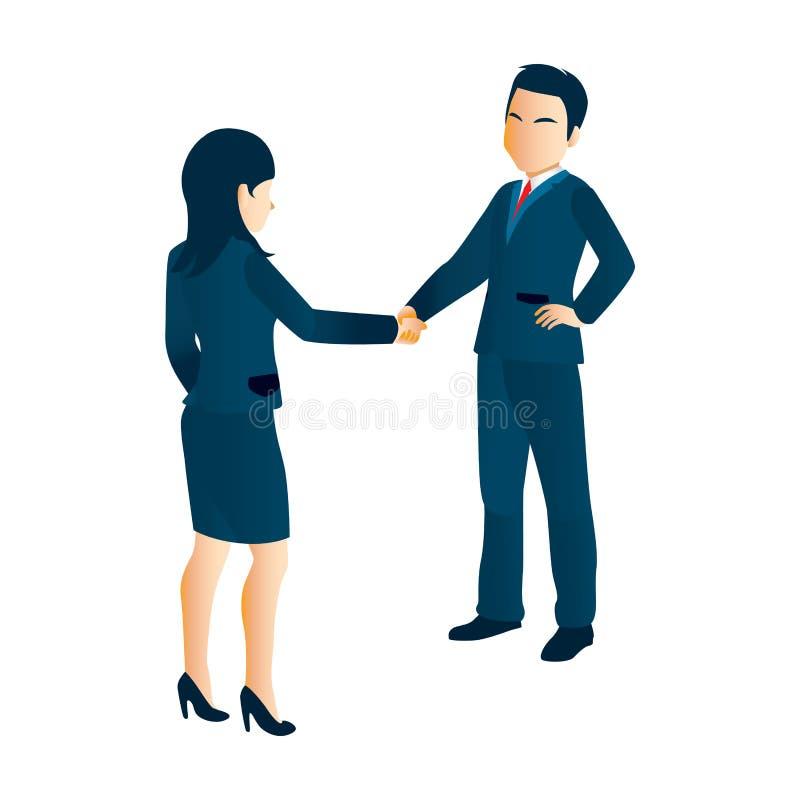 Mulher de negócios Shaking Hands dos homens de negócios ilustração do vetor