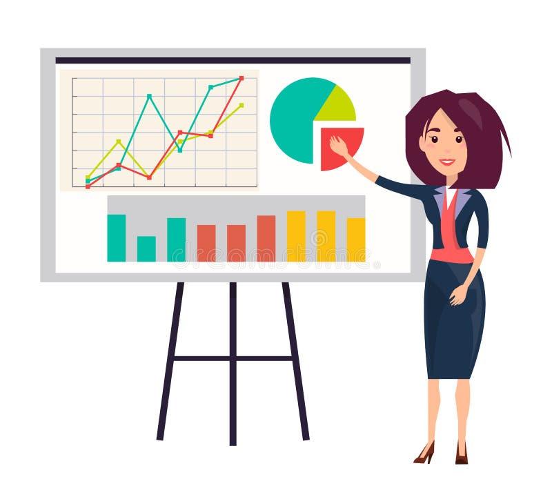 Mulher de negócios Shows Presentation com gráficos ilustração royalty free