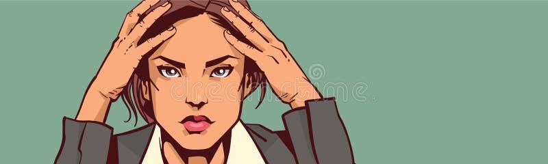Mulher de negócios sobrecarregado Tired Or Upset do close up deprimido do retrato da mulher de negócio sobre o fundo com espaço d ilustração do vetor