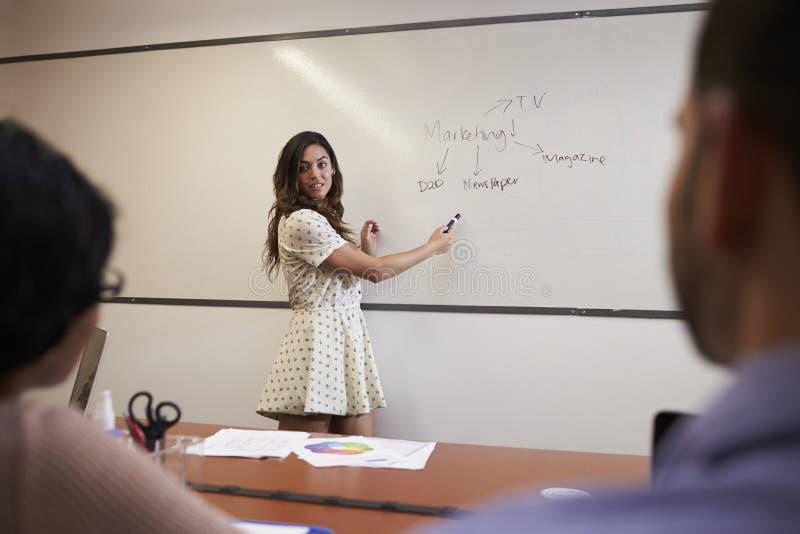 Mulher de negócios Standing By Whiteboard para entregar a apresentação imagem de stock