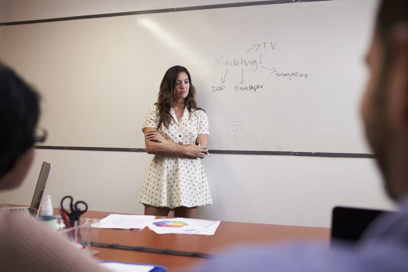 Mulher de negócios Standing By Whiteboard para entregar a apresentação imagem de stock royalty free