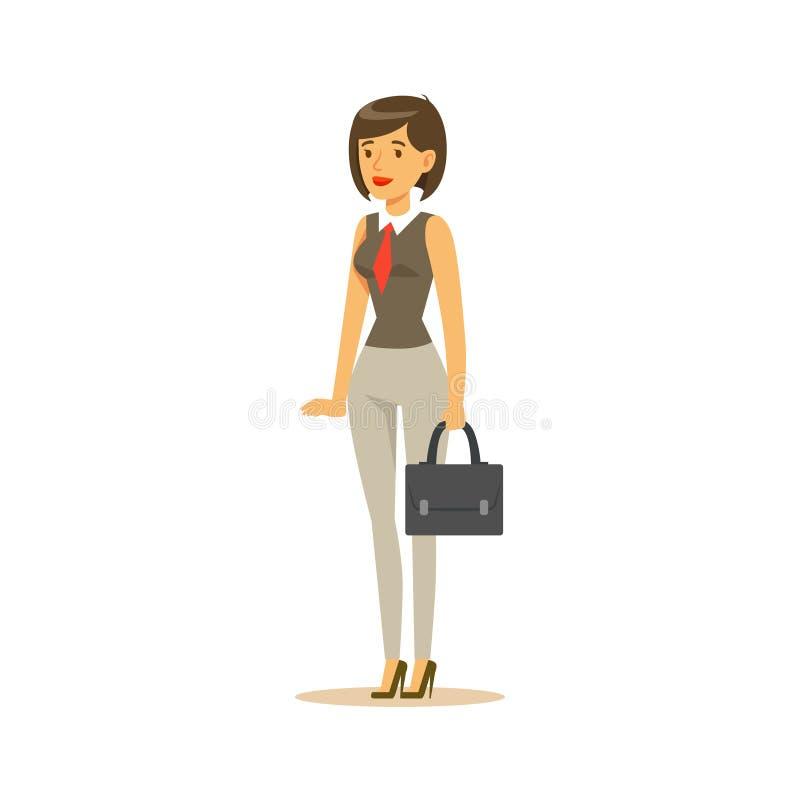 Mulher de negócios With Suitcase, empregado de escritório para negócios na roupa oficial do código de vestimenta ocupada em desen ilustração do vetor