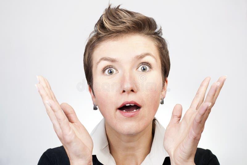 Mulher de negócios surpreendida imagem de stock royalty free