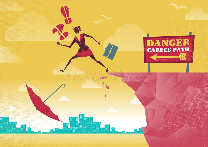 A mulher de negócios toma uma escolha perigosa da carreira profissional ilustração royalty free