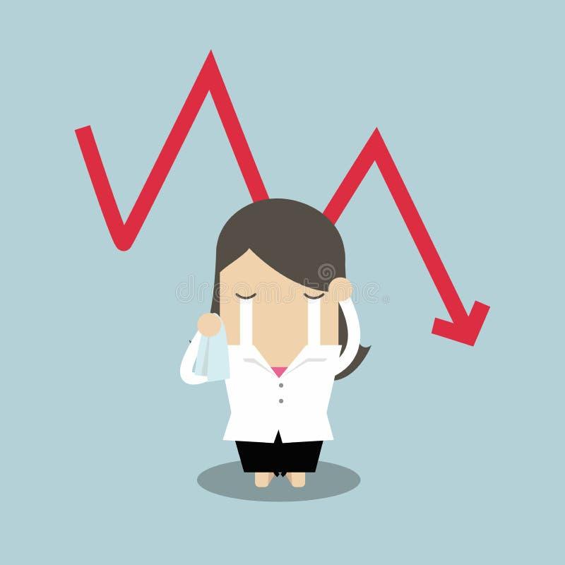 Mulher de negócios triste que grita com queda para baixo crise financeira do gráfico vermelho da seta ilustração stock