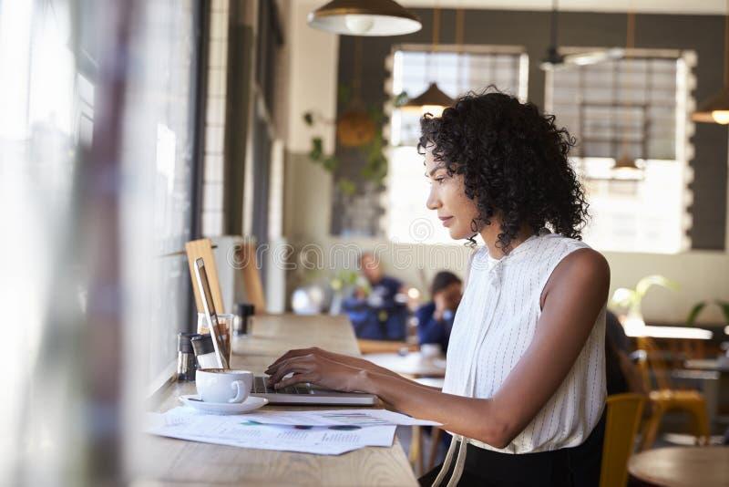Mulher de negócios By Window Working no portátil na cafetaria imagens de stock