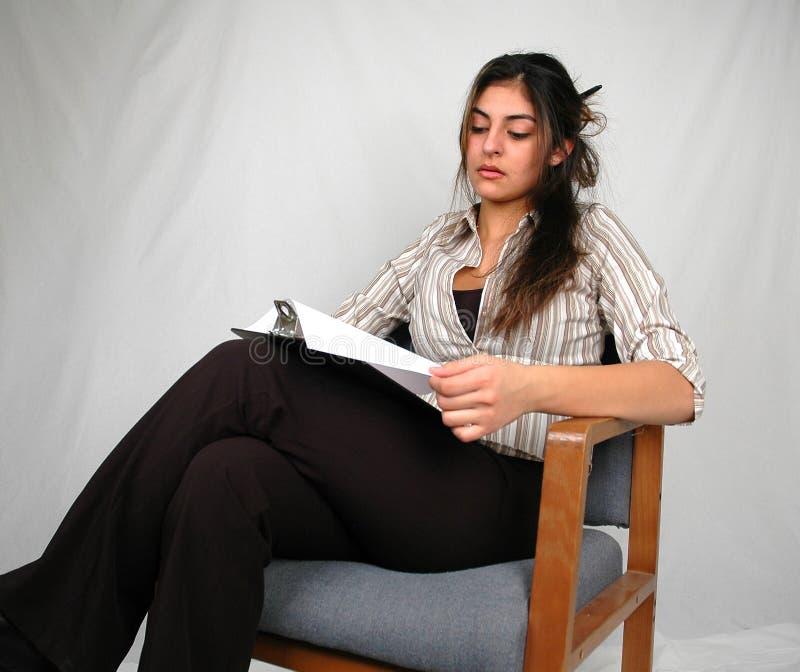 Mulher de negócios working-2 fotografia de stock