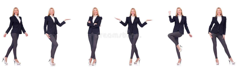 A mulher de neg?cios bonita isolada no branco fotografia de stock royalty free