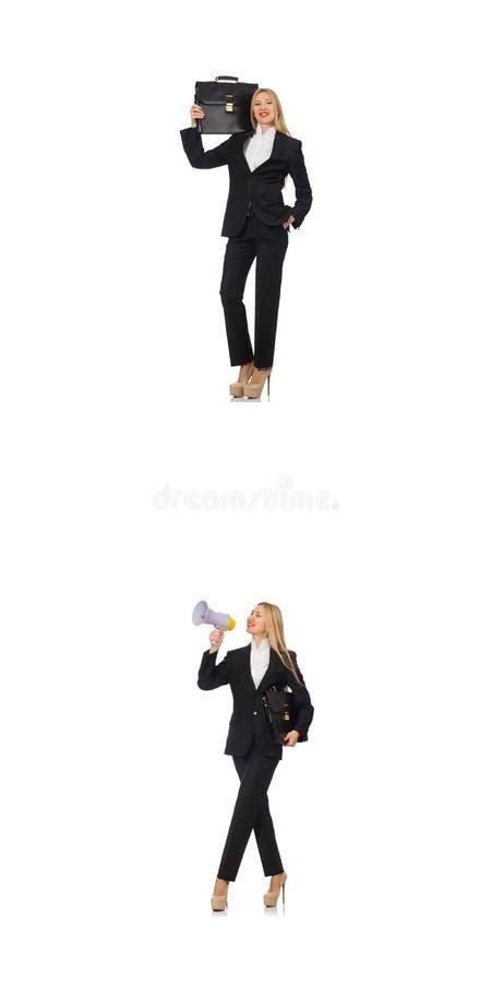 A mulher de neg?cios com megafone e pasta imagens de stock royalty free