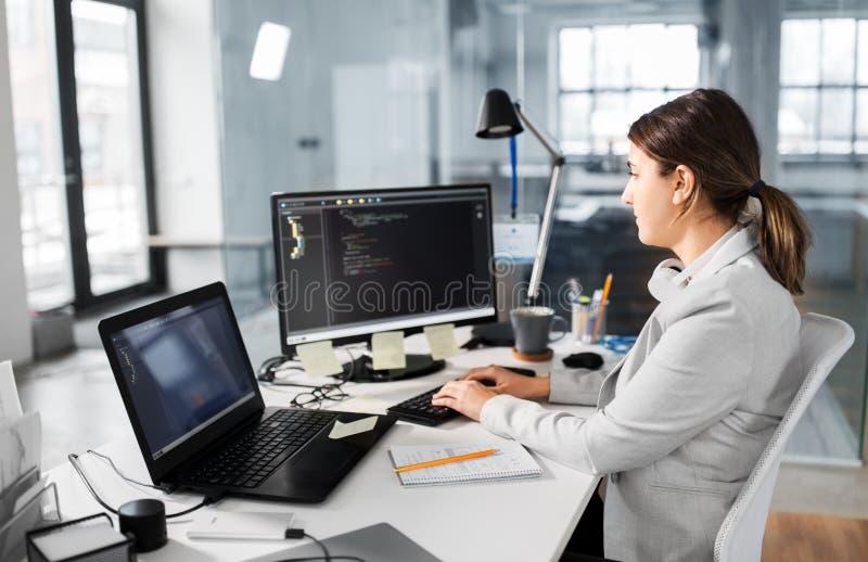 Mulher de neg?cios com o computador que trabalha no escrit?rio imagens de stock royalty free