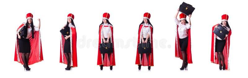 Mulher de neg?cios da rainha no conceito do neg?cio fotografia de stock royalty free
