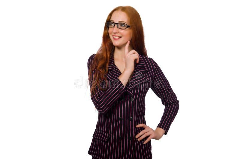 A mulher de neg?cios no traje roxo isolado no branco fotos de stock