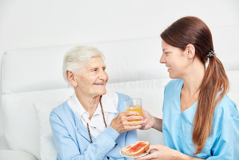 A mulher de nutrição traz a idoso um suco imagem de stock