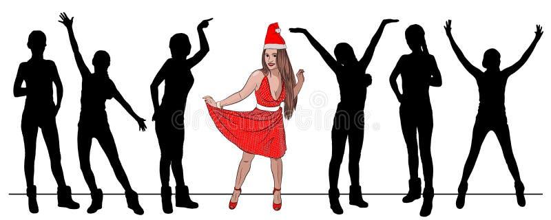 mulher de Papai Noel da competição de beleza 'sexy' dentro ilustração do vetor