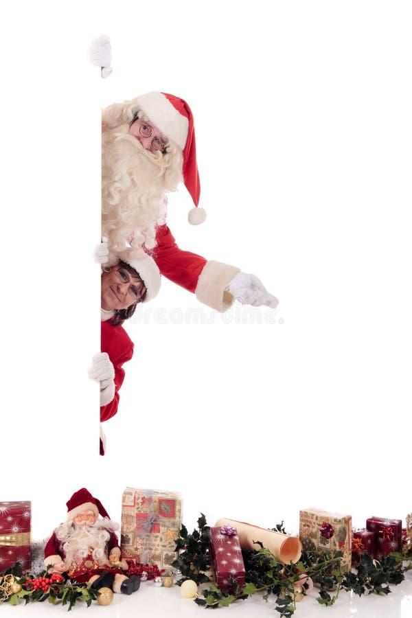 Mulher de Papai Noel e de Xmas imagem de stock