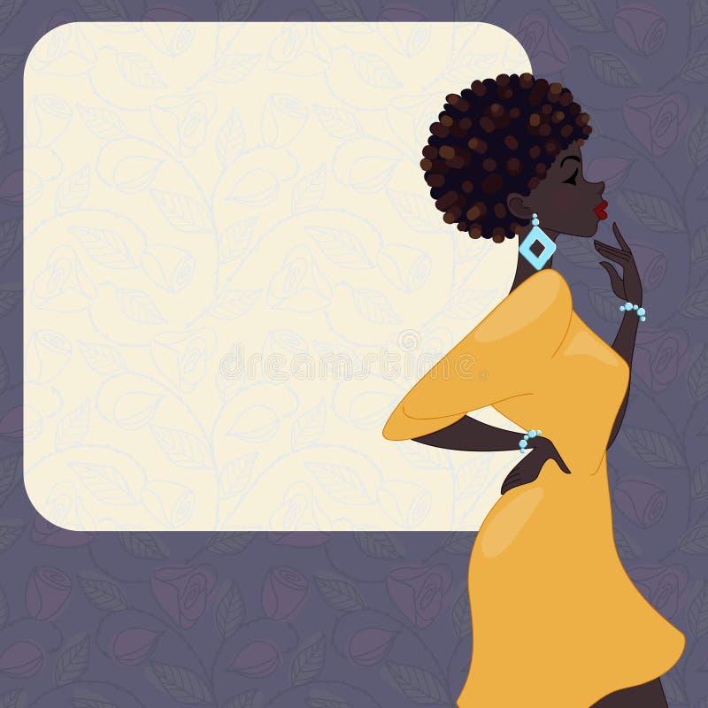 Mulher de pele escura em um fundo roxo ilustração stock