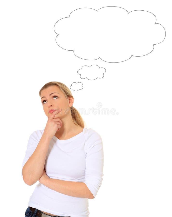 Mulher de pensamento com bolha em branco do pensamento foto de stock royalty free