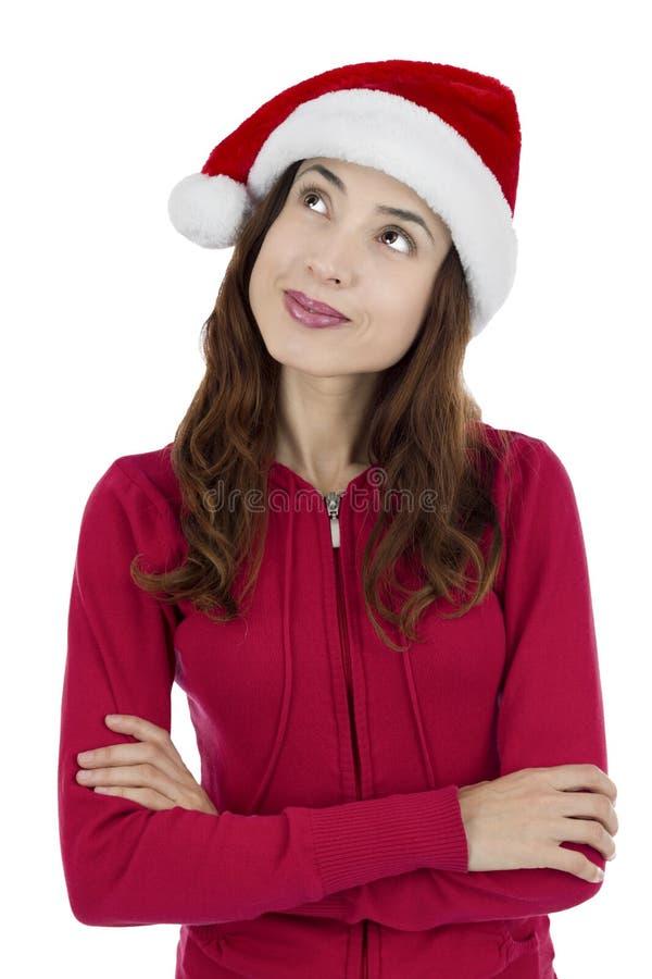 Mulher de pensamento do Natal fotografia de stock royalty free
