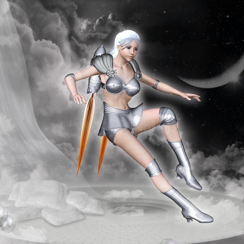 Mulher de Rocket ilustração stock