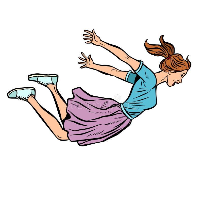Mulher de salto feliz V?o livre ilustração do vetor