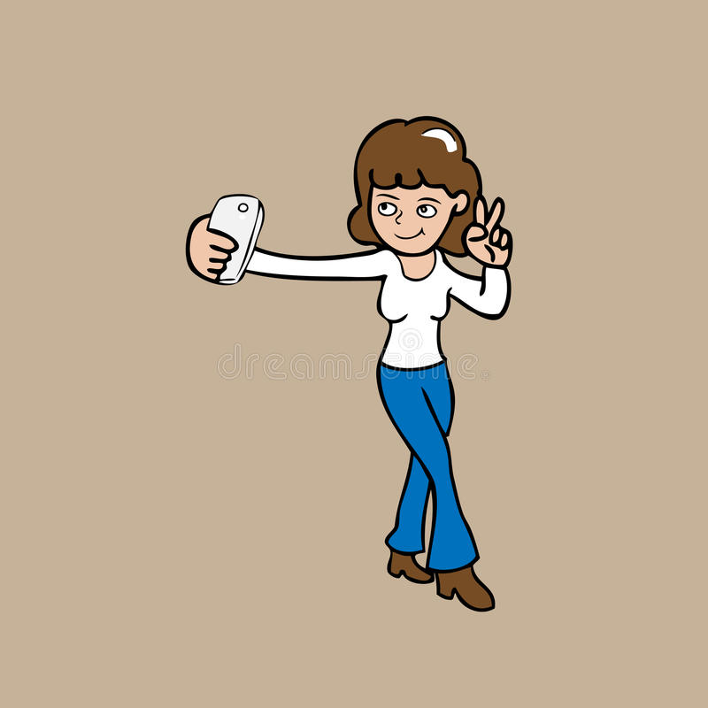 Mulher de Selfie ilustração do vetor