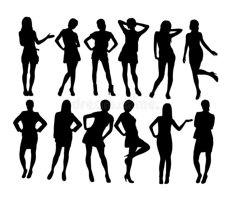 Mulher de SexyBusiness e secretário Silhouetes, projeto do vetor da arte ilustração royalty free