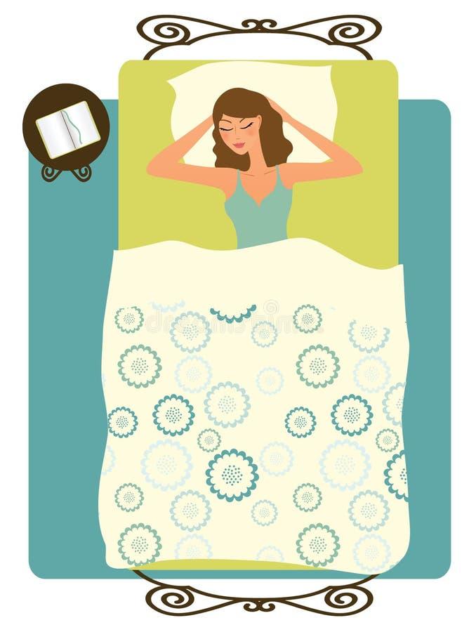 Mulher de sono ilustração stock