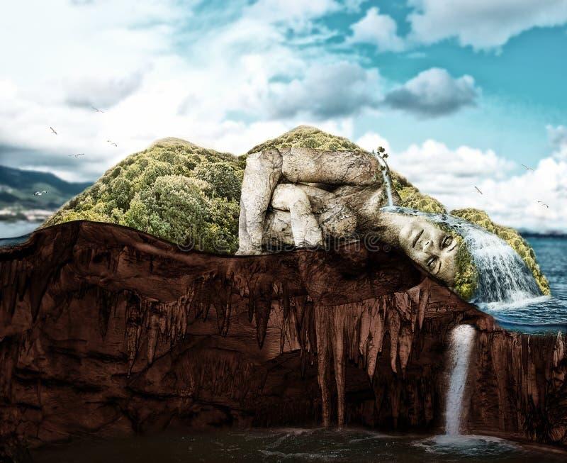 Mulher de sono - ilha tropical no corte ilustração do vetor