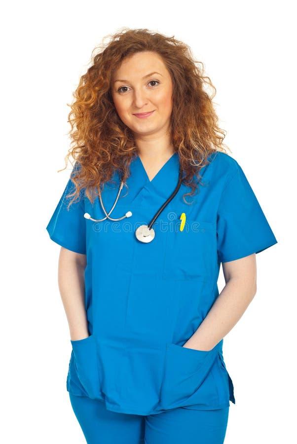 Mulher de sorriso amigável do doutor imagens de stock royalty free